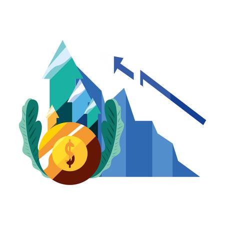 dollar coin money diagram arrow vector illustration