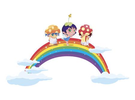 fungus elfs and fairy with rainbow vector illustration design 일러스트