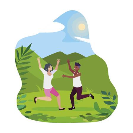 interracial young couple celebrating in the camp vector illustration design Foto de archivo - 129417601