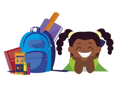 happy little black schoolgirl with schoolbag character vector illustration design Ilustração