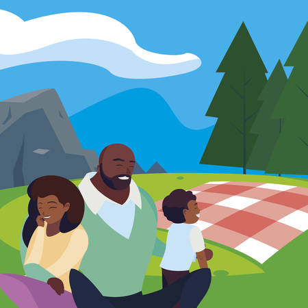 black parents couple with son in the landscape picnic day vector illustration design