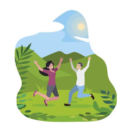 happy young couple celebrating in the camp vector illustration design Foto de archivo - 129419874