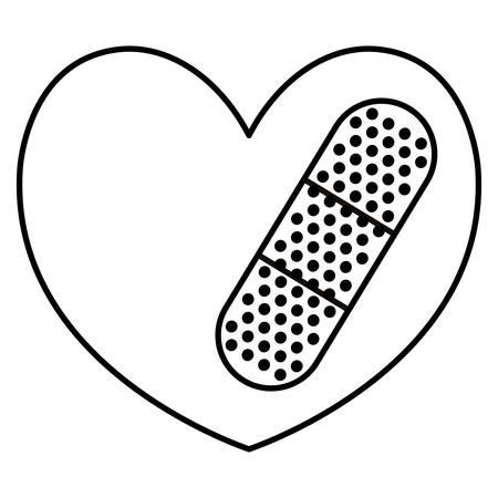 heart cardio with cure bandage vector illustration design Illusztráció