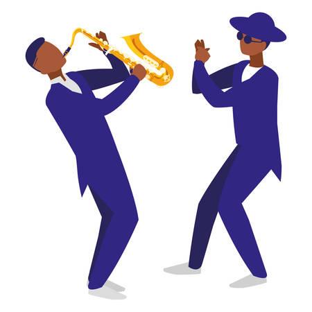 couple of musicians characters vector illustration design Foto de archivo - 129419934