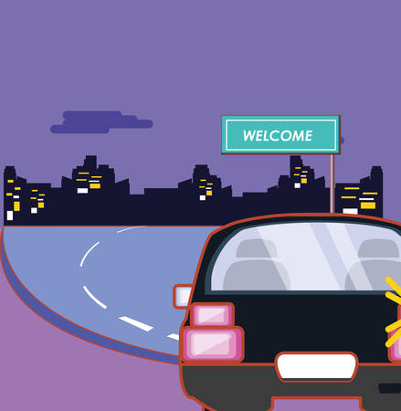 car on the road and welcome board over purple background, colorful design. vector illustration