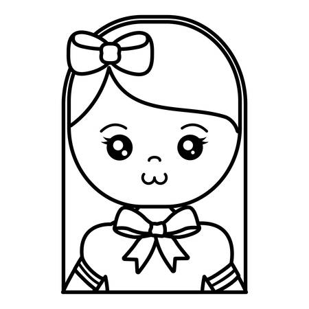 cute and little girl character vector illustration design Stock Illustratie