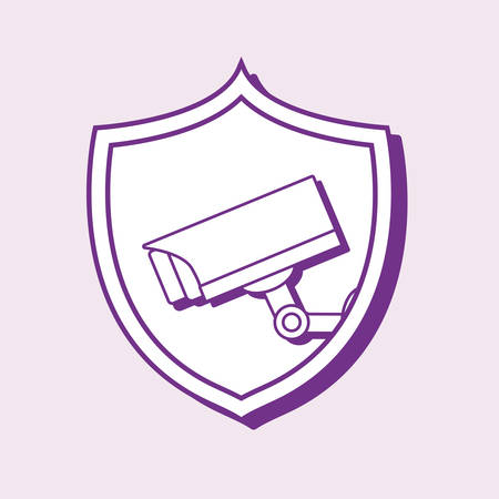 smart home design with shield with security camera over purple background, colorful line design. vector illustration Ilustrace