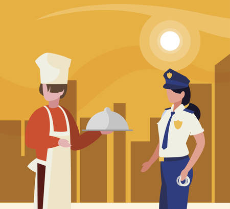 couple of professional workers in cityscape at sunset vector illustration design Foto de archivo - 129422052