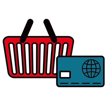 shopping basket with credit card vector illustration design Çizim
