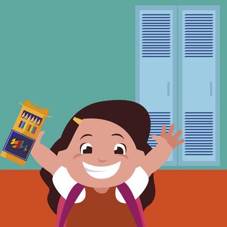 little schoolgirl with schoolbag in school corridor vector illustration design