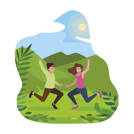 happy young couple celebrating in the camp vector illustration design Illusztráció