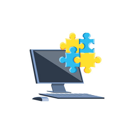 desktop computer with puzzle pieces vector illustration design