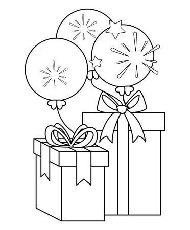 gift box present with balloons helium vector illustration design Çizim