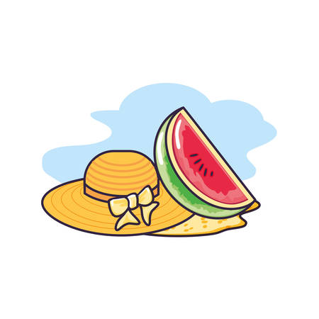 hat female wicker in the beach with slice of watermelon vector illustration design