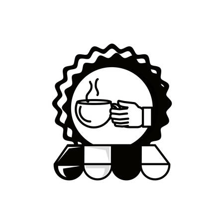 seal and hand with coffee cup and parasol vector illustration design