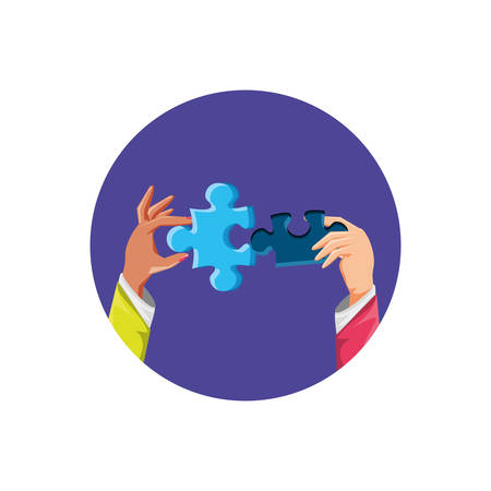 hands with puzzle pieces isolated icon vector illustration design 写真素材 - 129422405