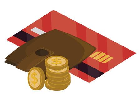 credit card with wallet money vector illustration design Illusztráció