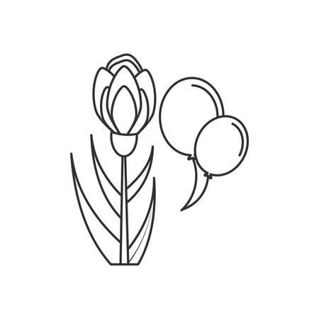 natural flower with balloons helium vector illustration design Illusztráció