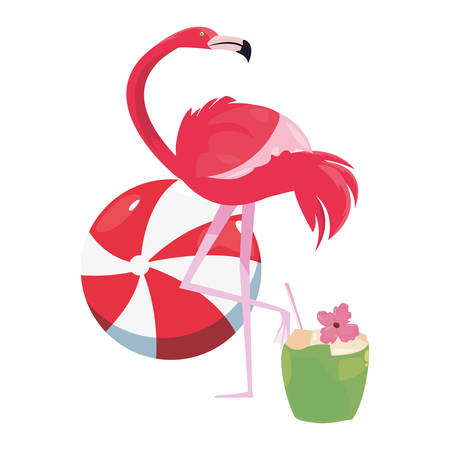 summer time holiday cocktail flamingo ball   vector illustration Çizim
