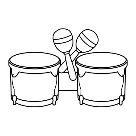timbal and maracas instruments musical vector illustration design Stock Illustratie