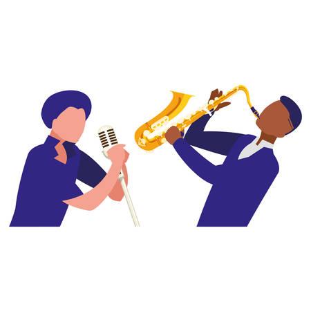 singer and musician couple characters vector illustration design Foto de archivo - 129423833