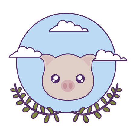 cute little piggy baby with crown leafs vector illustration design