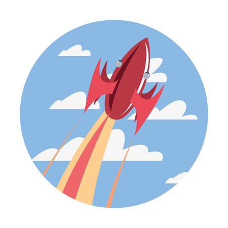 rocket spaceship flying in the sky vector illustration Иллюстрация