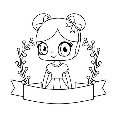 cute little doll with ribbon and branches of leafs vector illustration design Stockfoto - 129424231