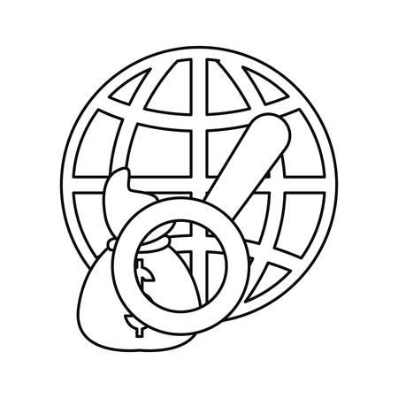 world money bag magnifier business vector illustration