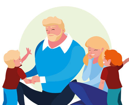 parents with children family avatar character vector illustration design