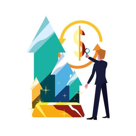 businessman with magnifier gold bar arrows exchange vector illustration vector illustration