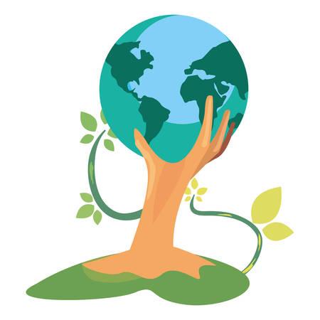 hand with trunk tree world shape happy earth day vector illustration Иллюстрация