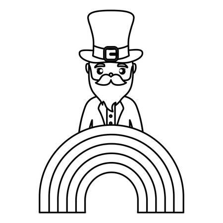 leprechaun saint patrick with rainbow vector illustration design 일러스트