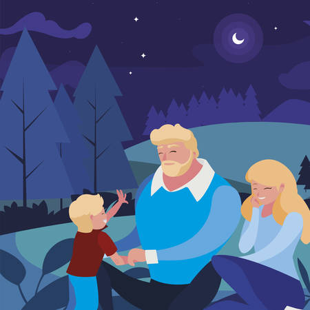 parents couple with son in the field at night vector illustration design