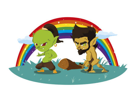 ugly troll with caveman gnome and rainbow vector illustration design