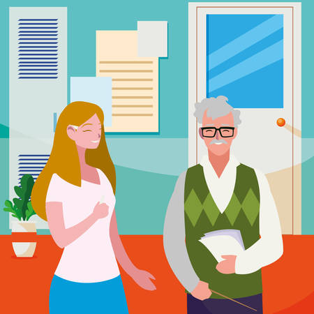 teachers couple in the school corridor vector illustration design Stock Illustratie