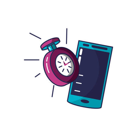 chronometer time with smartphone device vector illustration design Stock Illustratie
