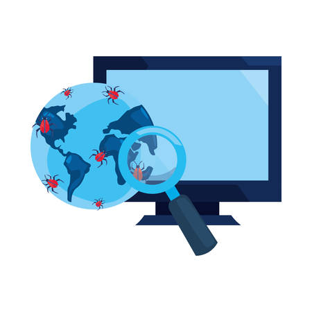 world virus magnifier computer cybersecurity data protection vector illustration