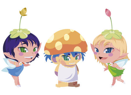 beautiful magic fairies with fungu elf characters vector illustration design