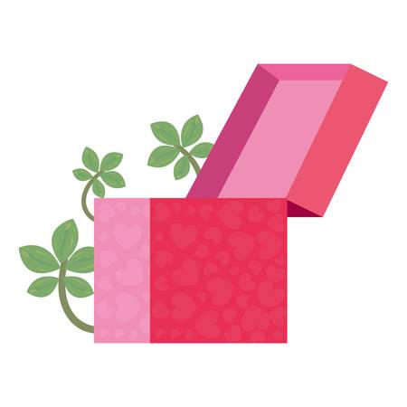gift box leaves white background vector illustration