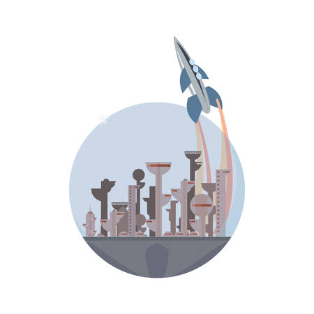 launching rocket city future space vector illustration design