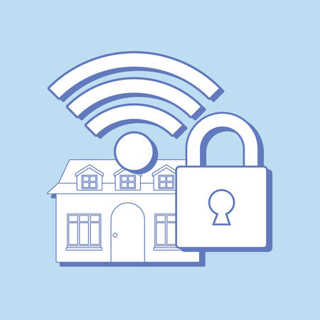 smart home design with padlock and wifi symbol over blue background, colorful design. vector illustration