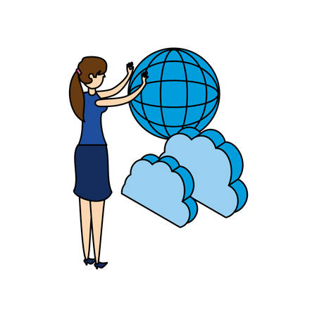businesswoman with cloud computing and sphere browser vector illustration  イラスト・ベクター素材