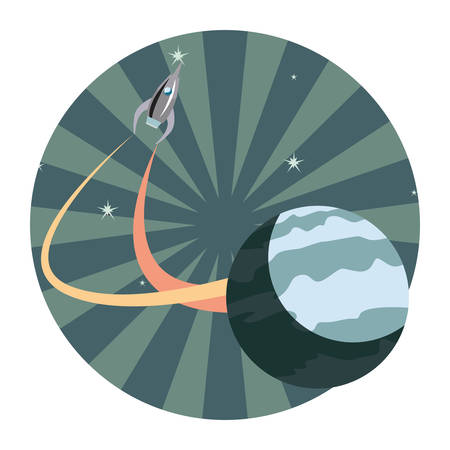 rocket spaceship exploration planet vector illustration design