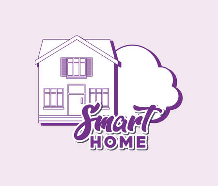 smart home design with house and cloud over pink background, colorful line design. vector illustration