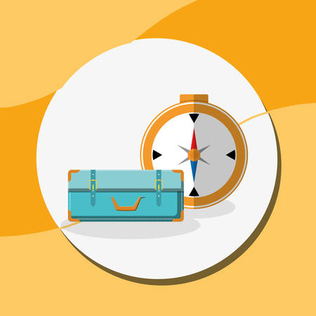 suitcase travel with compass guide vector illustration design Фото со стока - 129405398