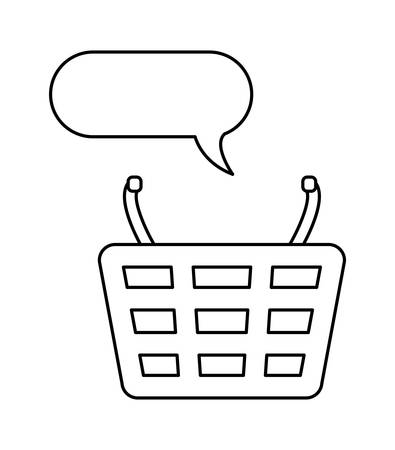 shopping basket with speech bubble vector illustration design