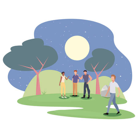people in the night park activity outdoors vector illustration