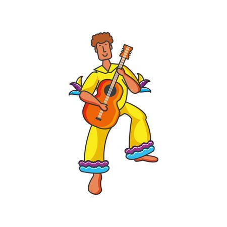 man brazilian dancer with guitar instrument vector illustration design