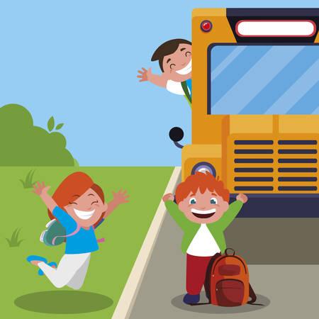 happy little school kids in the bus stop vector illustration design Ilustração